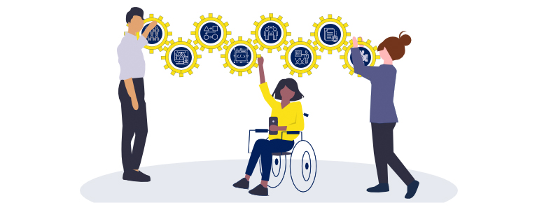 Cartoon man, and two ladies (one in a wheelchair) pointing at accessibility icons